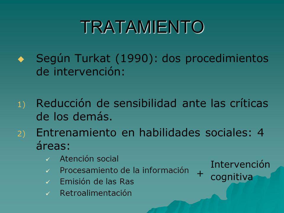 TRATAMIENTO Según Turkat (1990): dos procedimientos de intervención: 1) 1) Reducción de sensibilidad ante las críticas de los demás. 2) 2) Entrenamien