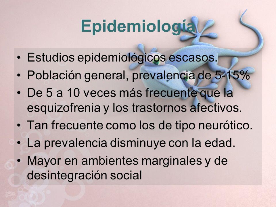 Epidemiología Estudios epidemiológicos escasos. Población general, prevalencia de 5-15% De 5 a 10 veces más frecuente que la esquizofrenia y los trast