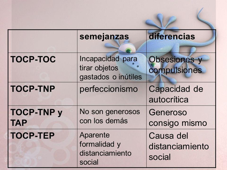 semejanzasdiferencias TOCP-TOC Incapacidad para tirar objetos gastados o inútiles Obsesiones y compulsiones TOCP-TNPperfeccionismoCapacidad de autocrí