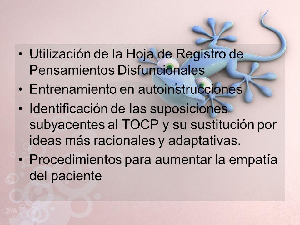 Utilización de la Hoja de Registro de Pensamientos Disfuncionales Entrenamiento en autoinstrucciones Identificación de las suposiciones subyacentes al