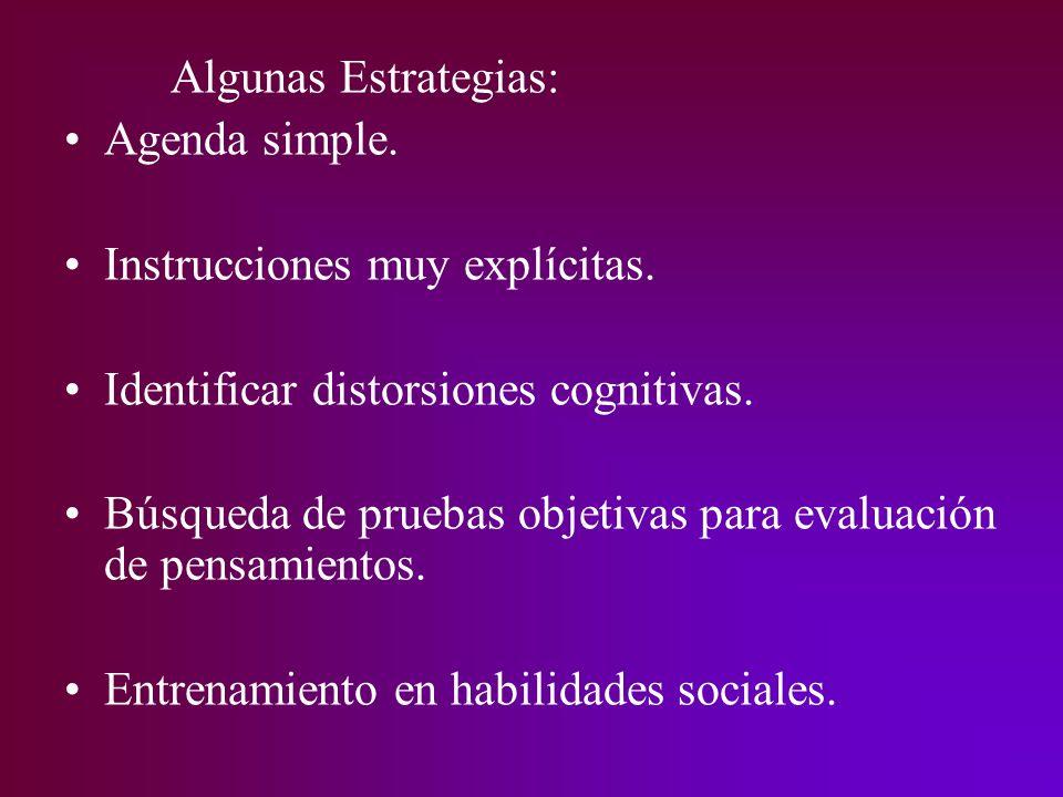 Algunas Estrategias: Agenda simple. Instrucciones muy explícitas. Identificar distorsiones cognitivas. Búsqueda de pruebas objetivas para evaluación d