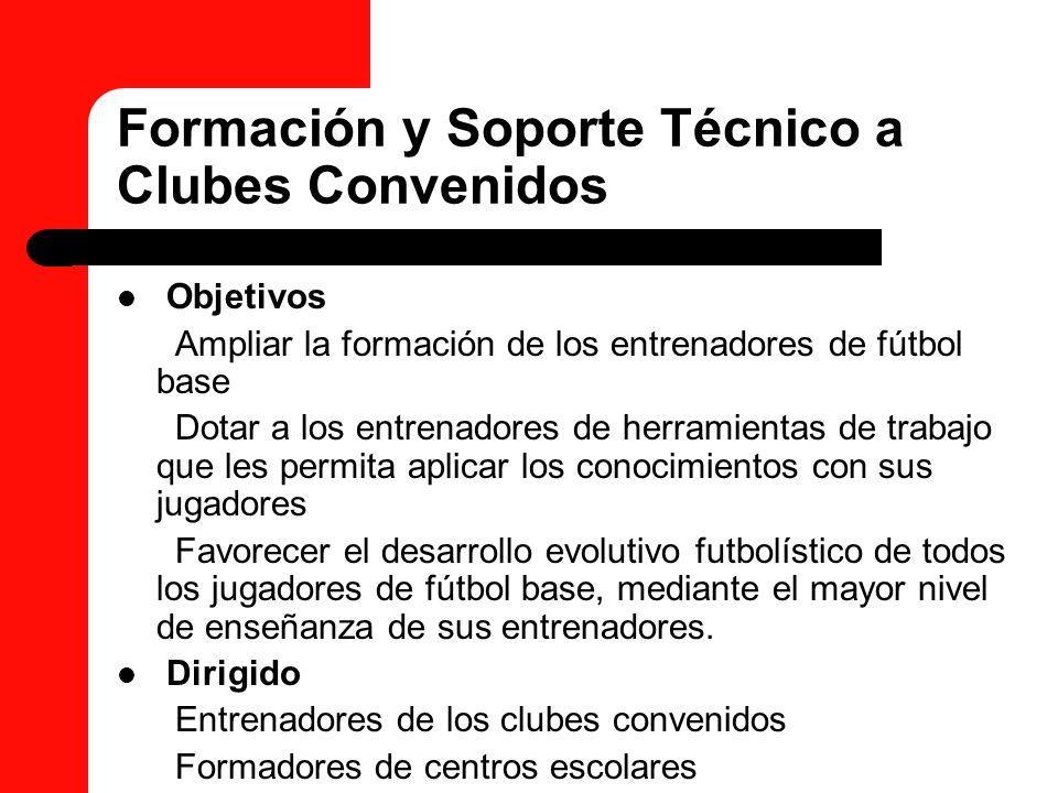 Formación y Soporte Técnico a Clubes Convenidos Objetivos Ampliar la formación de los entrenadores de fútbol base Dotar a los entrenadores de herramie