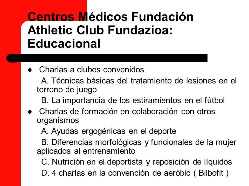 Centros Médicos Fundación Athletic Club Fundazioa: Educacional Charlas a clubes convenidos A. Técnicas básicas del tratamiento de lesiones en el terre