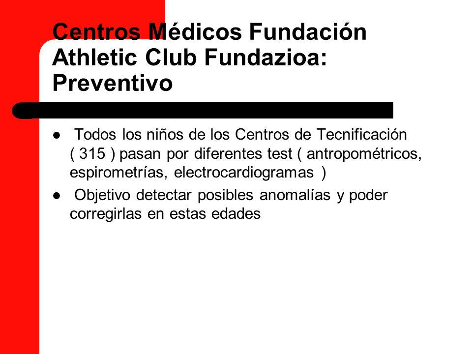 Centros Médicos Fundación Athletic Club Fundazioa: Preventivo Todos los niños de los Centros de Tecnificación ( 315 ) pasan por diferentes test ( antr