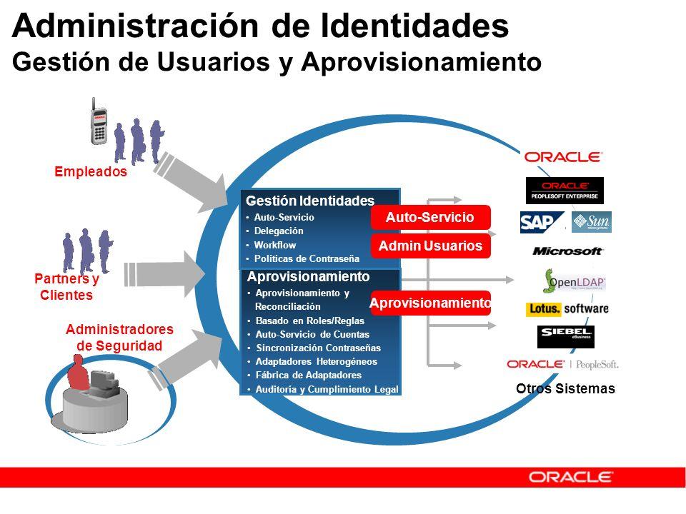 Administradores de Seguridad Administración de Identidades Gestión de Usuarios y Aprovisionamiento Empleados Gestión Identidades Auto-Servicio Delegac