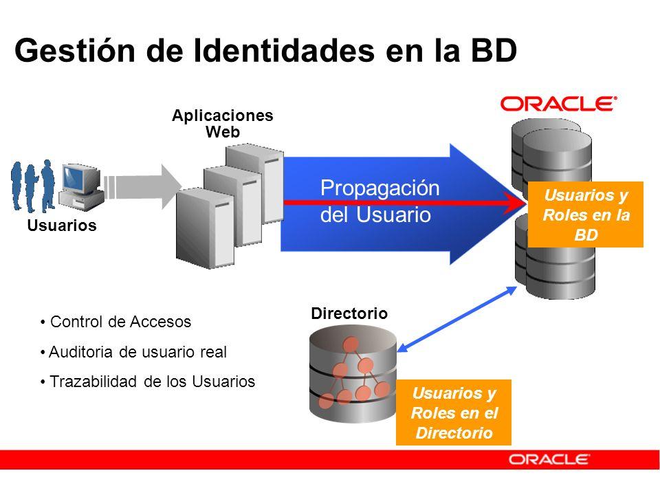 Gestión de Identidades en la BD Usuarios Aplicaciones Web Usuarios y Roles en la BD Usuarios y Roles en el Directorio Directorio Propagación del Usuar