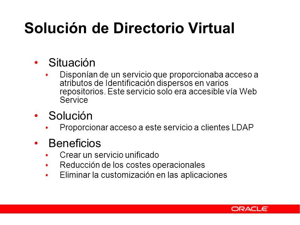 Solución de Directorio Virtual Situación Disponían de un servicio que proporcionaba acceso a atributos de Identificación dispersos en varios repositor