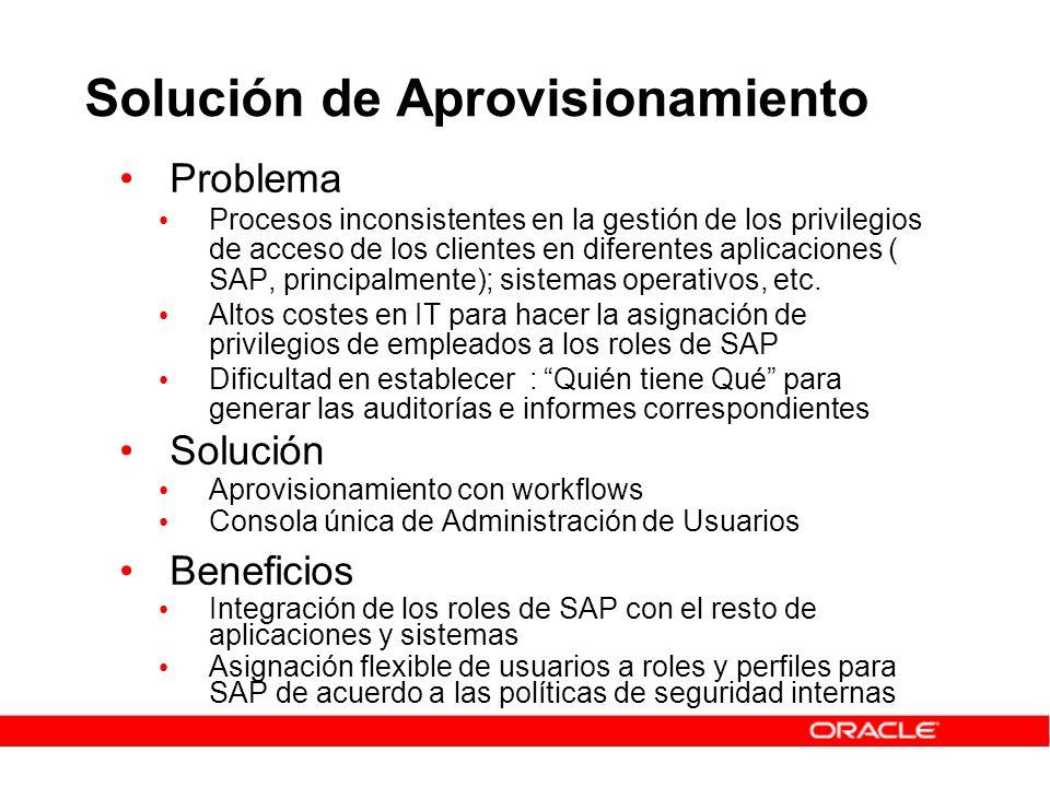 Solución de Aprovisionamiento Problema Procesos inconsistentes en la gestión de los privilegios de acceso de los clientes en diferentes aplicaciones (