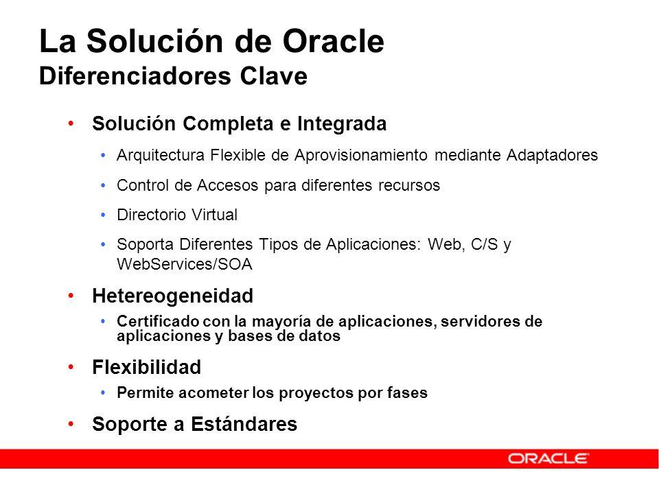 La Solución de Oracle Diferenciadores Clave Solución Completa e Integrada Arquitectura Flexible de Aprovisionamiento mediante Adaptadores Control de A