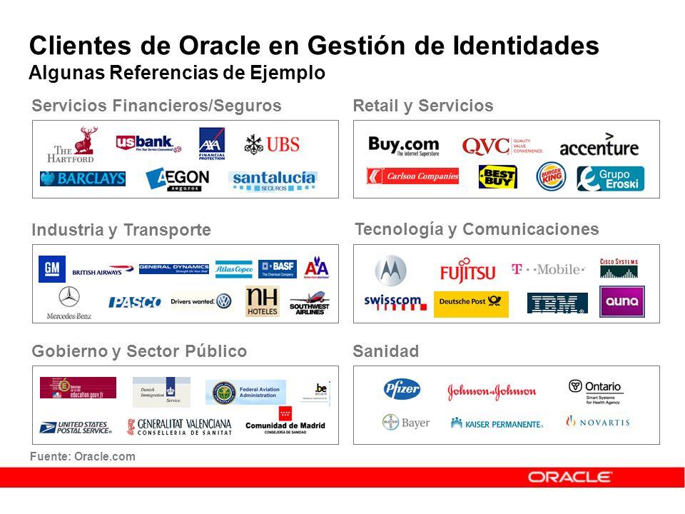 Fuente: Oracle.com Clientes de Oracle en Gestión de Identidades Algunas Referencias de Ejemplo Industria y Transporte Servicios Financieros/Seguros Go