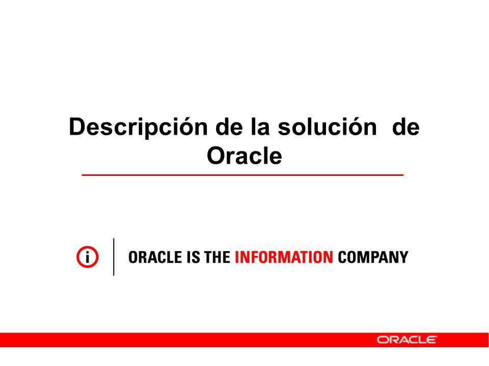 Estrategia de Oracle en Gestión de Identidades Gestión de Identidades Centrada en Aplicaciones Completo Riqueza Funcional ( roles, recursos, …) Proporciona todos los componentes Modular y Abierto Todas las Infraestructuras y Aplicaciones Basado en Estándares Centrado en las Aplicaciones Cualquier Aplicación (web, C/S, SOA) Integrado con Aplicaciones de Negocio