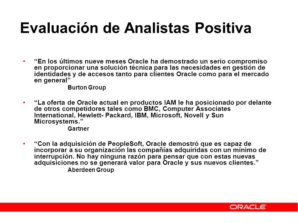 Evaluación de Analistas Positiva En los últimos nueve meses Oracle ha demostrado un serio compromiso en proporcionar una solución técnica para las nec