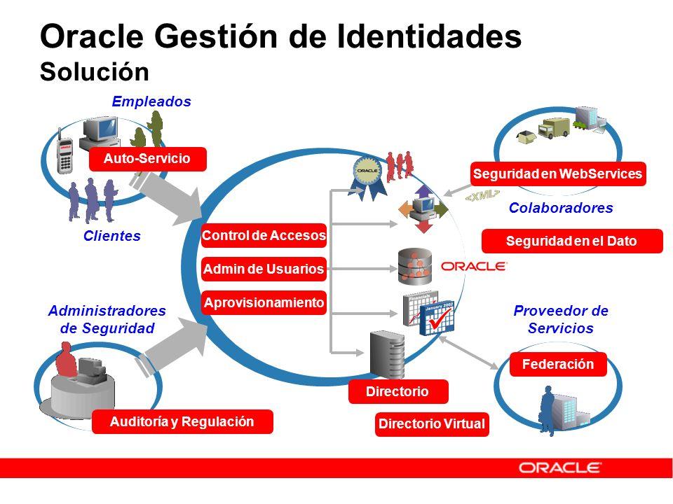 Oracle Gestión de Identidades Areas Clave Infraestructura de Identidades Directorio Virtual Directorio Administración de Identidades Gestión de Usuarios y Roles Aprovisionamiento de Usuarios Control de Accesos Single Sign-On Federación de Identidades Control de Acceso por Aplicación Seguridad en Web Services Auditoría