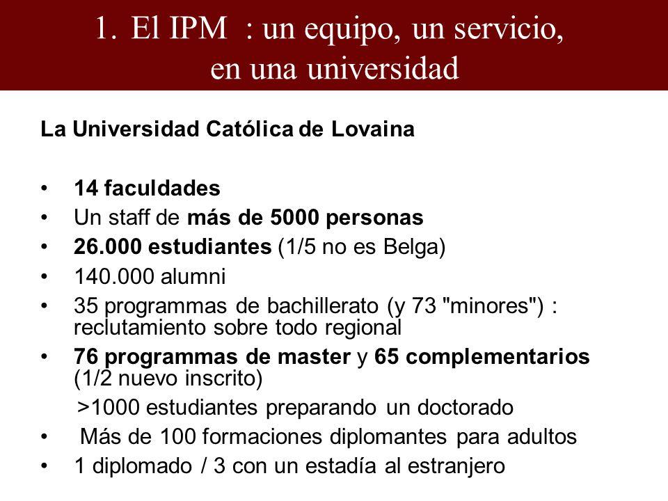 La Universidad Católica de Lovaina 14 faculdades Un staff de más de 5000 personas 26.000 estudiantes (1/5 no es Belga) 140.000 alumni 35 programmas de bachillerato (y 73 minores ) : reclutamiento sobre todo regional 76 programmas de master y 65 complementarios (1/2 nuevo inscrito) >1000 estudiantes preparando un doctorado Más de 100 formaciones diplomantes para adultos 1 diplomado / 3 con un estadía al estranjero 1.El IPM : un equipo, un servicio, en una universidad