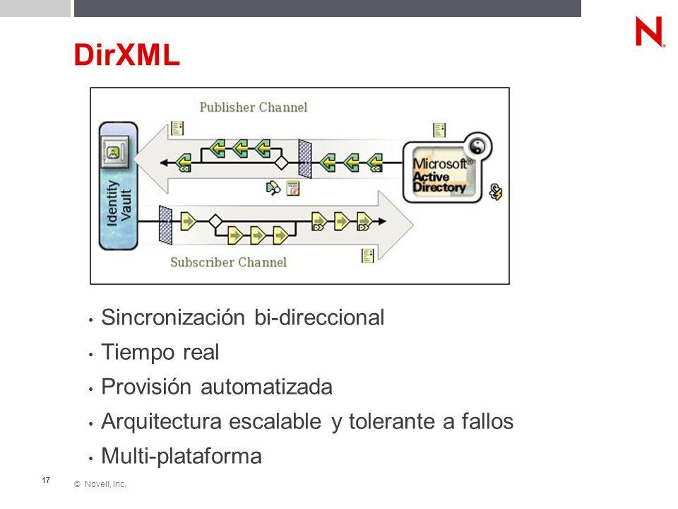 © Novell, Inc. 17 DirXML Sincronización bi-direccional Tiempo real Provisión automatizada Arquitectura escalable y tolerante a fallos Multi-plataforma