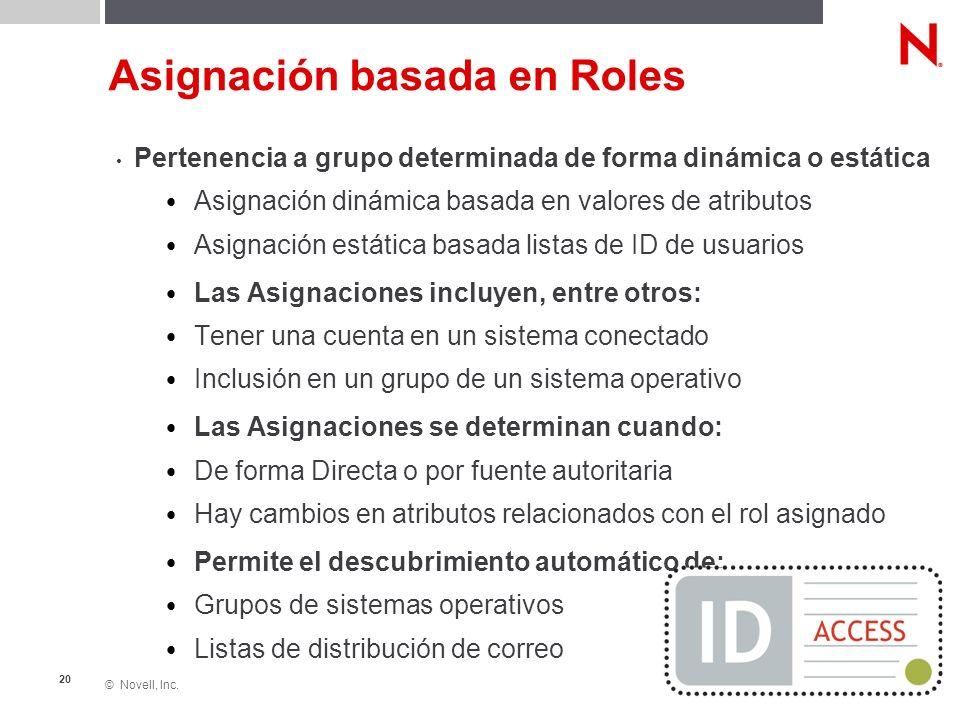© Novell, Inc. 20 Asignación basada en Roles Pertenencia a grupo determinada de forma dinámica o estática Asignación dinámica basada en valores de atr