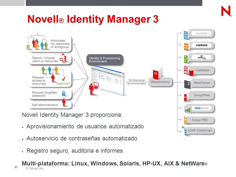 © Novell, Inc. 23 Novell ® Identity Manager 3 Novell Identity Manager 3 proporciona: Aprovisionamiento de usuarios automatizado Autoservicio de contra