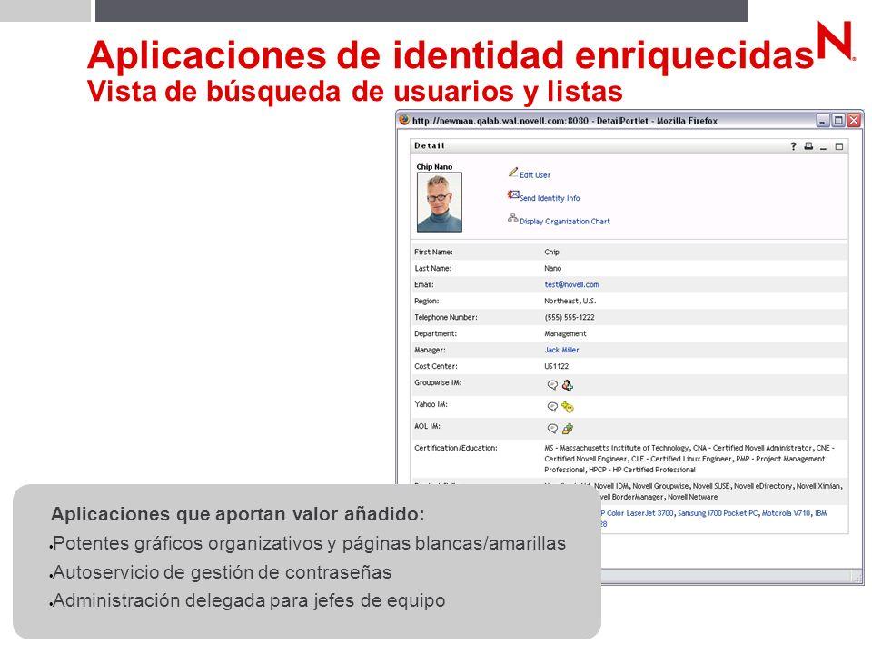 © Novell, Inc. 29 Aplicaciones de identidad enriquecidas Vista de búsqueda de usuarios y listas Aplicaciones que aportan valor añadido: Potentes gráfi