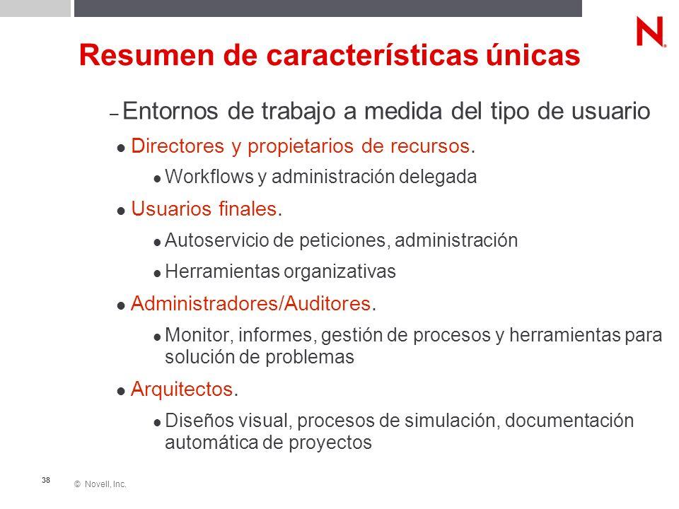 © Novell, Inc. 38 Resumen de características únicas – Entornos de trabajo a medida del tipo de usuario Directores y propietarios de recursos. Workflow
