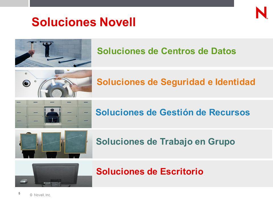 © Novell, Inc. 5 Soluciones Novell Soluciones de Centros de Datos Soluciones de Seguridad e Identidad Soluciones de Gestión de Recursos Soluciones de