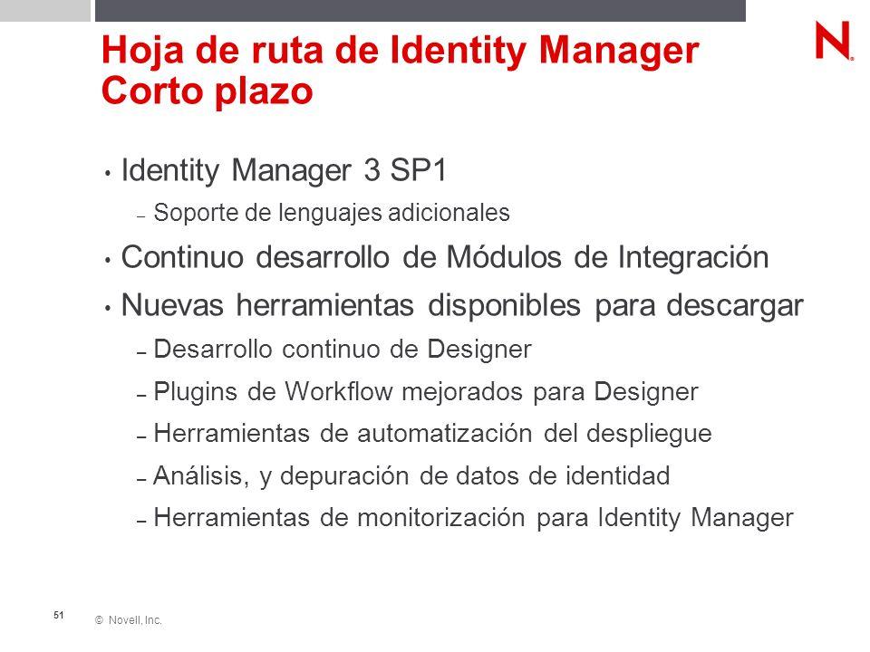 © Novell, Inc. 51 Hoja de ruta de Identity Manager Corto plazo Identity Manager 3 SP1 – Soporte de lenguajes adicionales Continuo desarrollo de Módulo