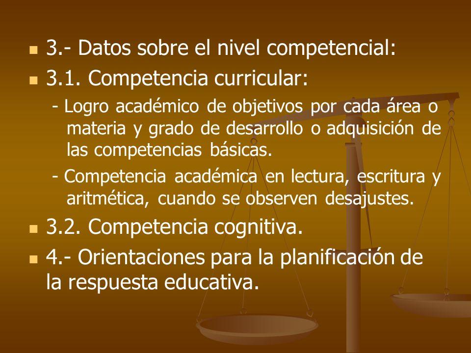3.- Datos sobre el nivel competencial: 3.1. Competencia curricular: - Logro académico de objetivos por cada área o materia y grado de desarrollo o adq