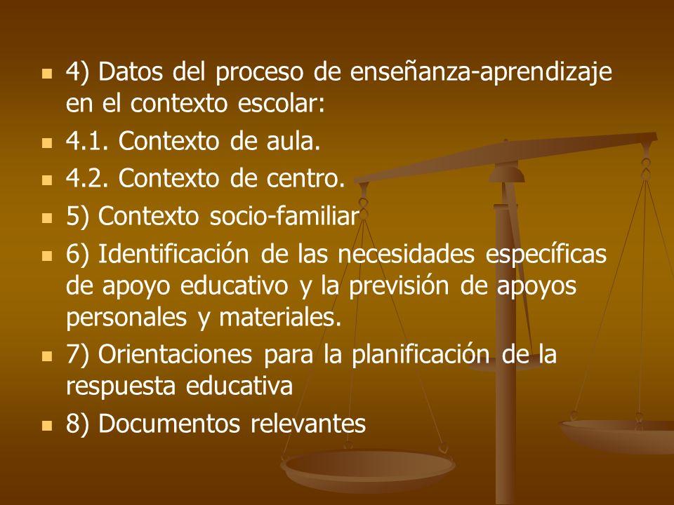4) Datos del proceso de enseñanza-aprendizaje en el contexto escolar: 4.1. Contexto de aula. 4.2. Contexto de centro. 5) Contexto socio-familiar 6) Id
