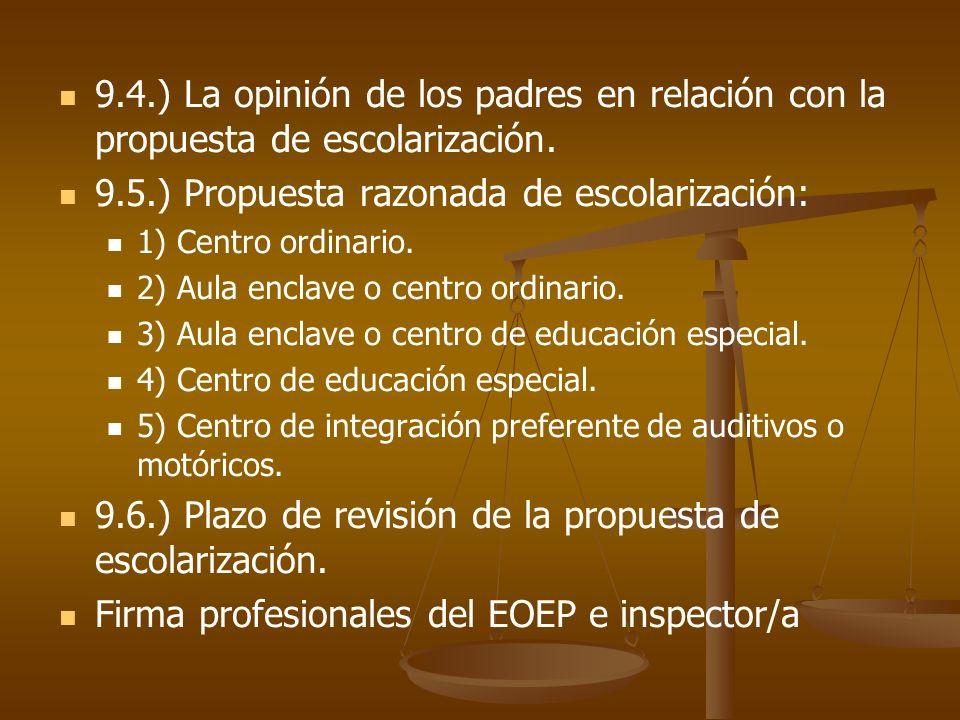 9.4.) La opinión de los padres en relación con la propuesta de escolarización. 9.5.) Propuesta razonada de escolarización: 1) Centro ordinario. 2) Aul