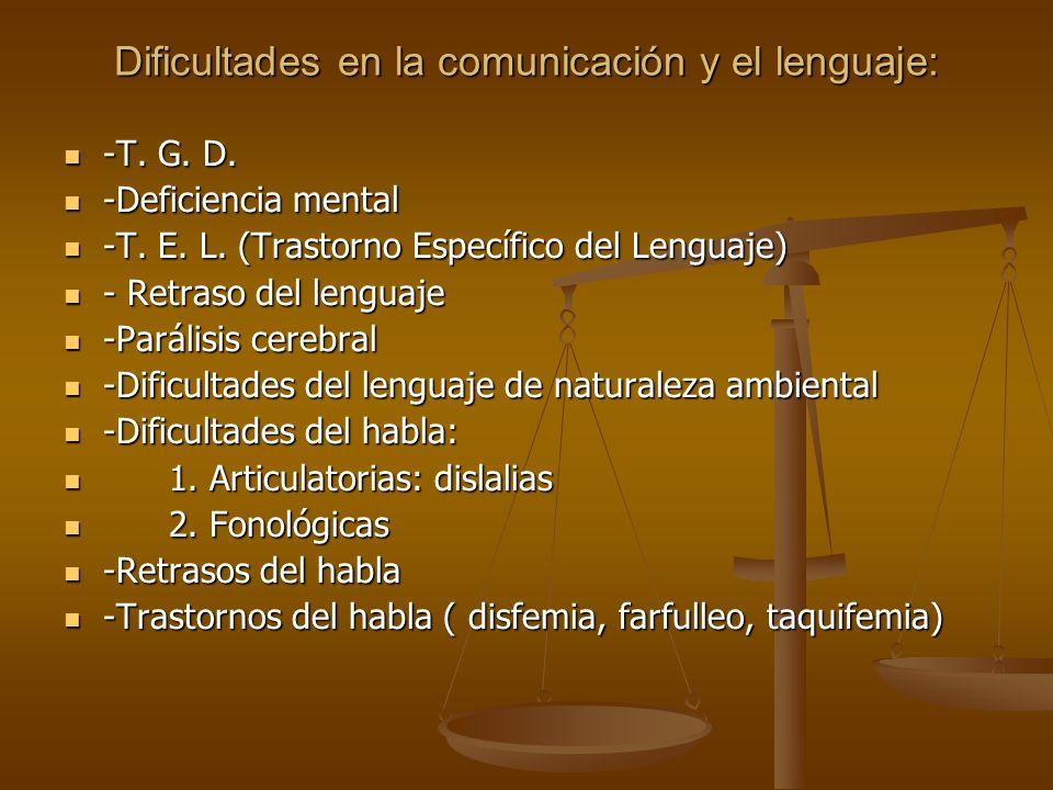 Dificultades en la comunicación y el lenguaje: -T. G. D. -T. G. D. -Deficiencia mental -Deficiencia mental -T. E. L. (Trastorno Específico del Lenguaj