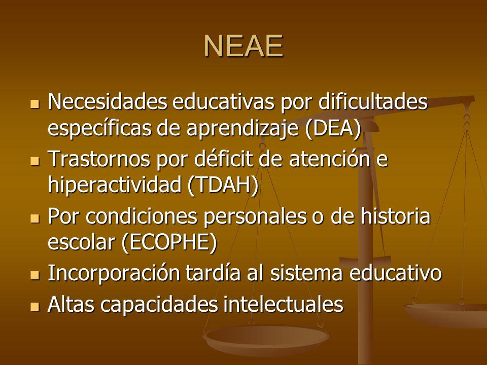 NEAE Necesidades educativas por dificultades específicas de aprendizaje (DEA) Necesidades educativas por dificultades específicas de aprendizaje (DEA)