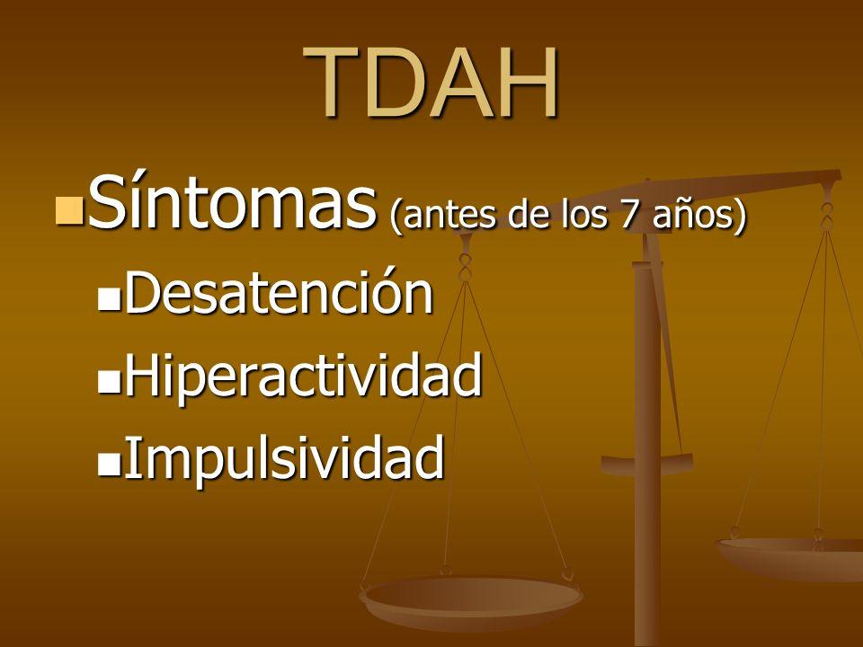 TDAH Síntomas (antes de los 7 años) Síntomas (antes de los 7 años) Desatención Desatención Hiperactividad Hiperactividad Impulsividad Impulsividad