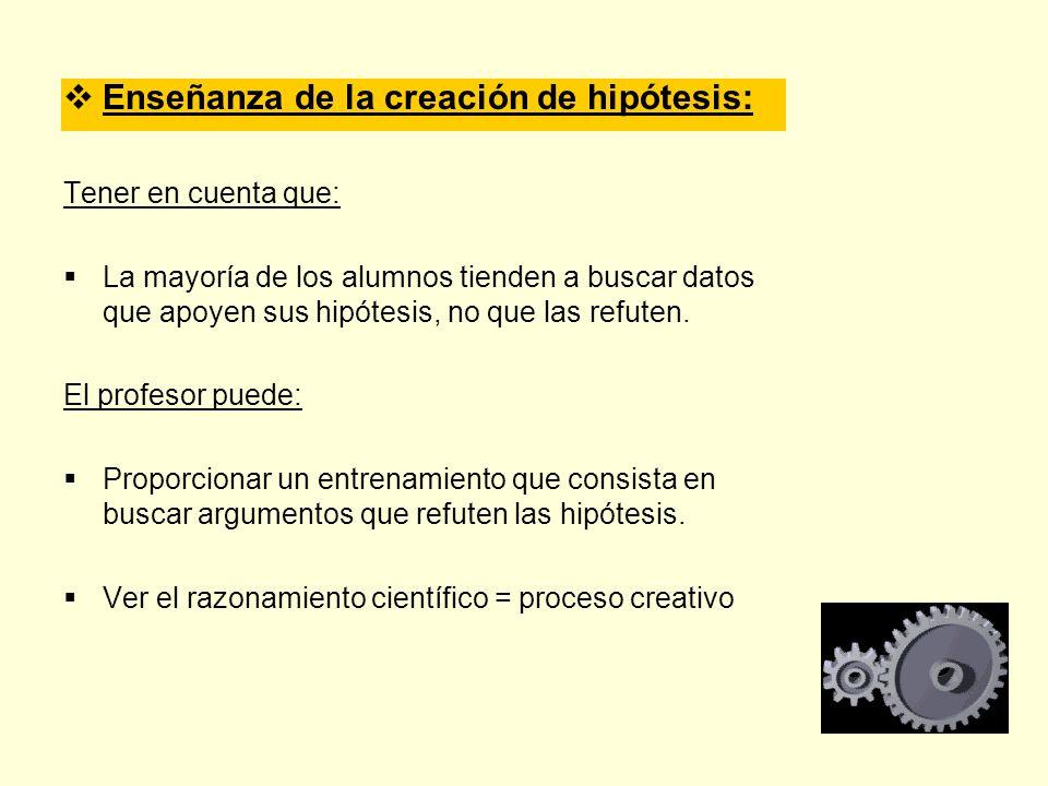 Enseñanza de la creación de hipótesis: Tener en cuenta que: La mayoría de los alumnos tienden a buscar datos que apoyen sus hipótesis, no que las refu