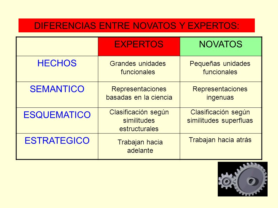 EXPERTOSNOVATOS HECHOS SEMANTICO ESQUEMATICO ESTRATEGICO DIFERENCIAS ENTRE NOVATOS Y EXPERTOS: Grandes unidades funcionales Pequeñas unidades funciona