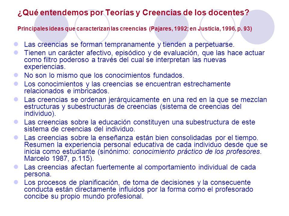 ¿Qué entendemos por Teorías y Creencias de los docentes? Principales ideas que caracterizan las creencias (Pajares, 1992; en Justicia, 1996, p. 93) La