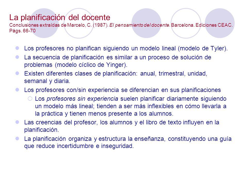 La planificación del docente Conclusiones extraídas de Marcelo, C. (1987). El pensamiento del docente. Barcelona. Ediciones CEAC. Págs. 66-70 Los prof