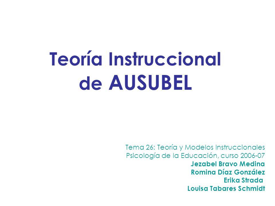 Tema 26: Teoría y Modelos Instruccionales Psicología de la Educación, curso 2006-07 Jezabel Bravo Medina Romina Díaz González Erika Strada Louisa Taba