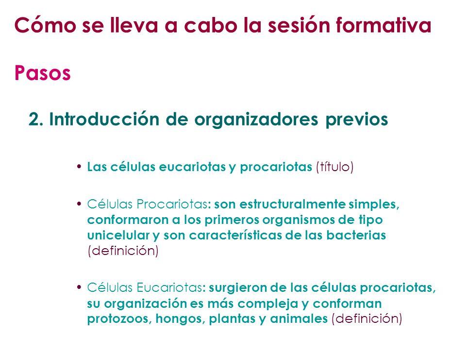 2. Introducción de organizadores previos Las células eucariotas y procariotas ( título) Células Procariotas : son estructuralmente simples, conformaro