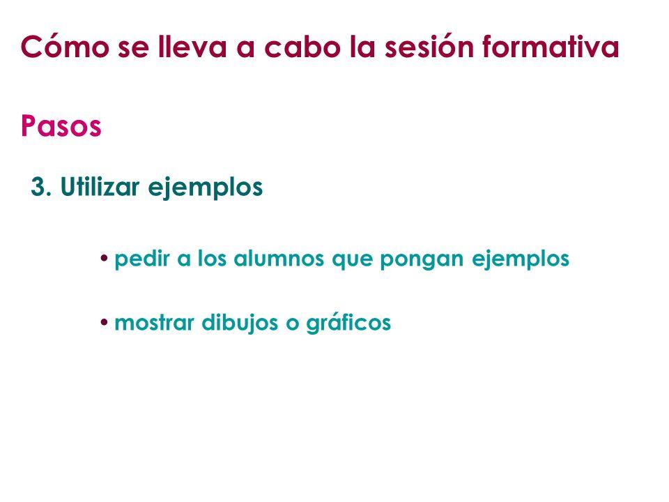 3. Utilizar ejemplos pedir a los alumnos que pongan ejemplos mostrar dibujos o gráficos Pasos Cómo se lleva a cabo la sesión formativa