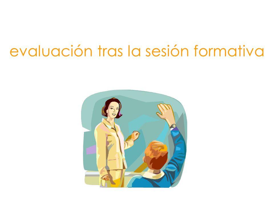 evaluación tras la sesión formativa
