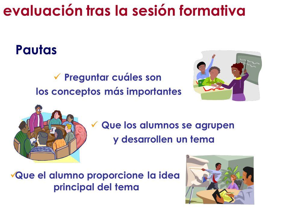 Pautas Preguntar cuáles son los conceptos más importantes Que los alumnos se agrupen y desarrollen un tema Que el alumno proporcione la idea principal