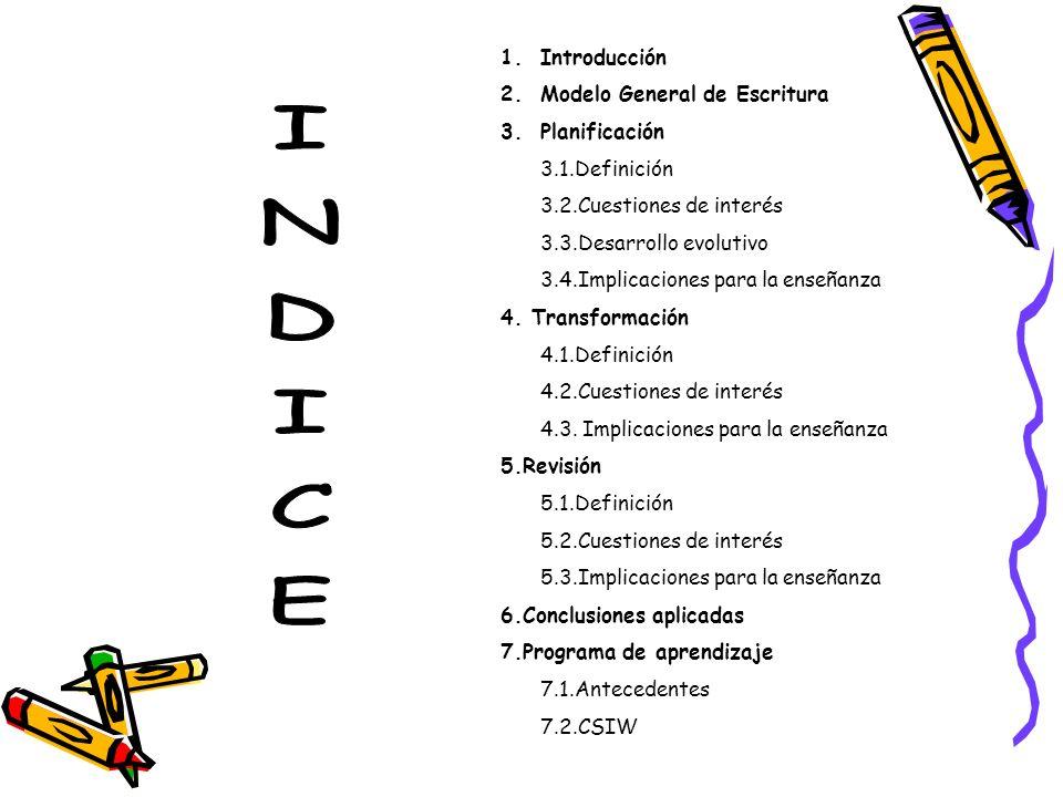 1.Introducción 2.Modelo General de Escritura 3.Planificación 3.1.Definición 3.2.Cuestiones de interés 3.3.Desarrollo evolutivo 3.4.Implicaciones para