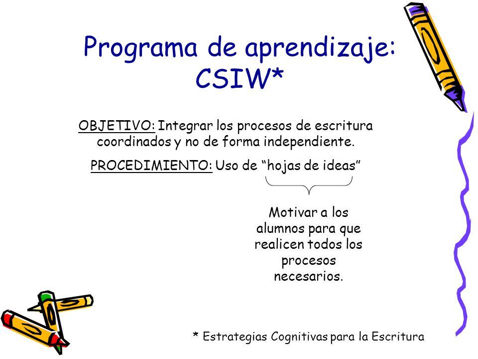 Programa de aprendizaje: CSIW* * Estrategias Cognitivas para la Escritura OBJETIVO: Integrar los procesos de escritura coordinados y no de forma indep