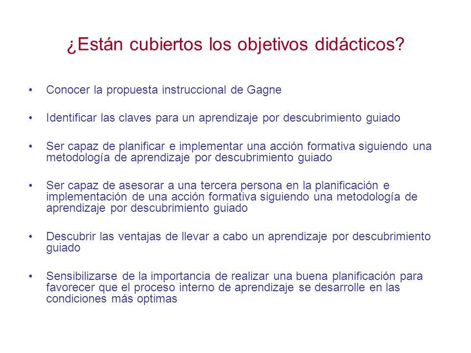 ¿Están cubiertos los objetivos didácticos? Conocer la propuesta instruccional de Gagne Identificar las claves para un aprendizaje por descubrimiento g