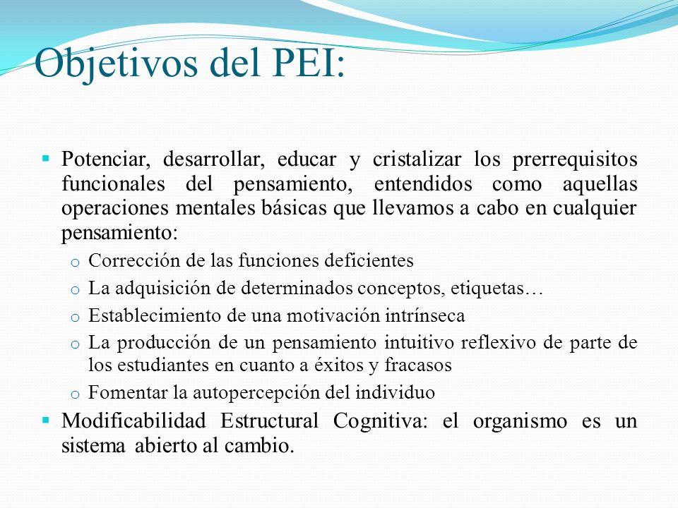 Objetivos del PEI: Potenciar, desarrollar, educar y cristalizar los prerrequisitos funcionales del pensamiento, entendidos como aquellas operaciones m
