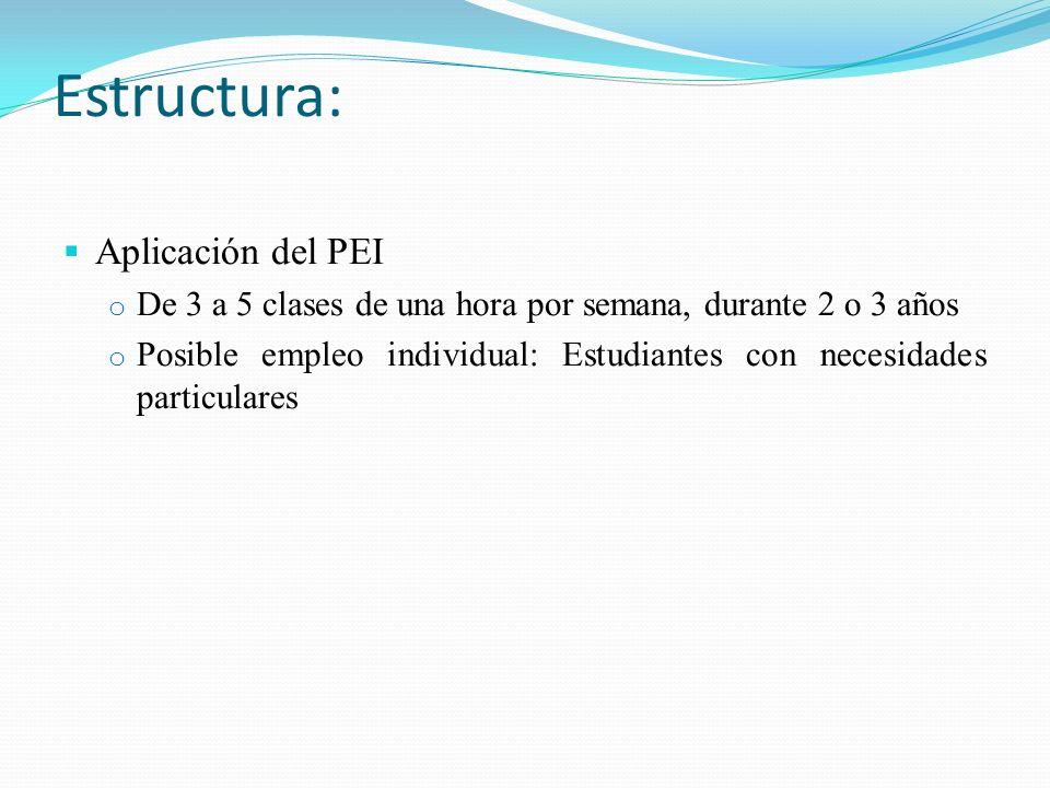 Estructura: Aplicación del PEI o De 3 a 5 clases de una hora por semana, durante 2 o 3 años o Posible empleo individual: Estudiantes con necesidades p