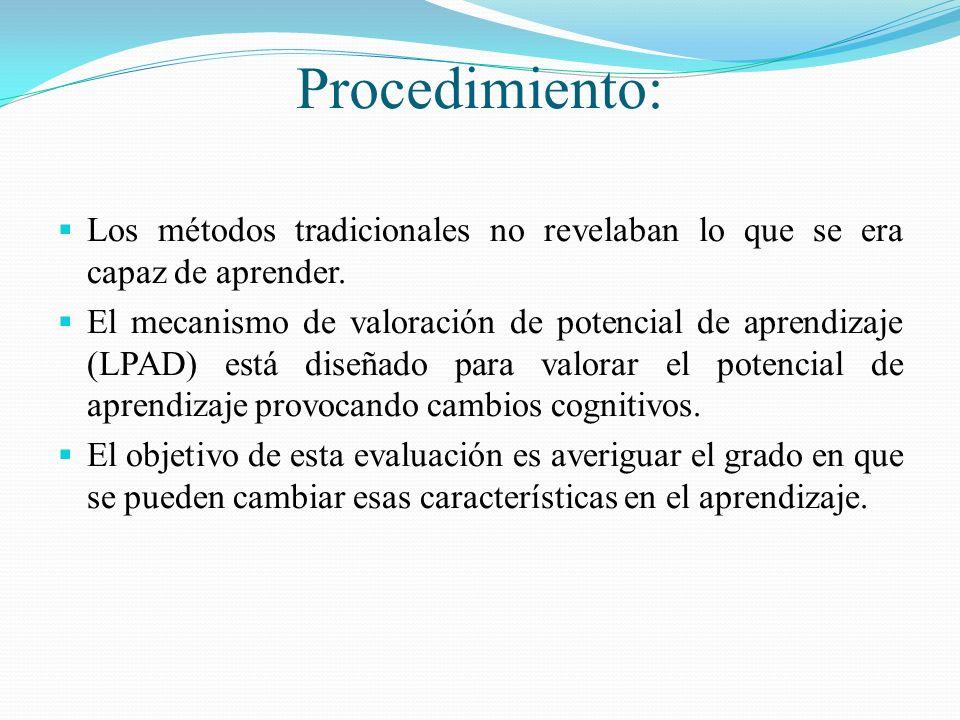Procedimiento: Los métodos tradicionales no revelaban lo que se era capaz de aprender. El mecanismo de valoración de potencial de aprendizaje (LPAD) e
