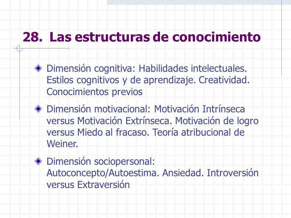 28. Las estructuras de conocimiento Dimensión cognitiva: Habilidades intelectuales. Estilos cognitivos y de aprendizaje. Creatividad. Conocimientos pr