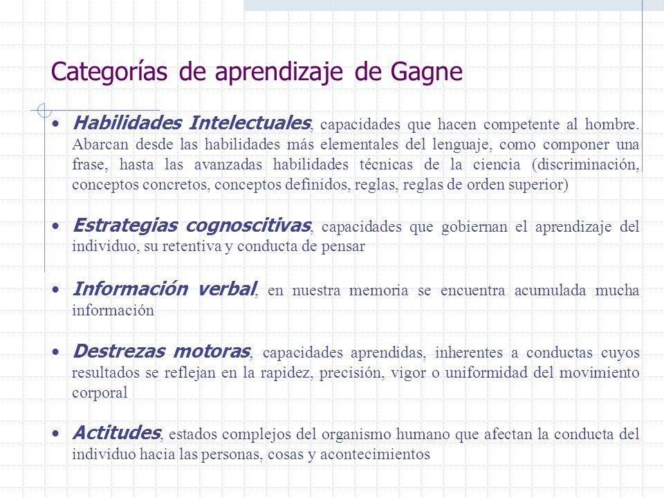 Categorías de aprendizaje de Gagne Habilidades Intelectuales, capacidades que hacen competente al hombre. Abarcan desde las habilidades más elementale