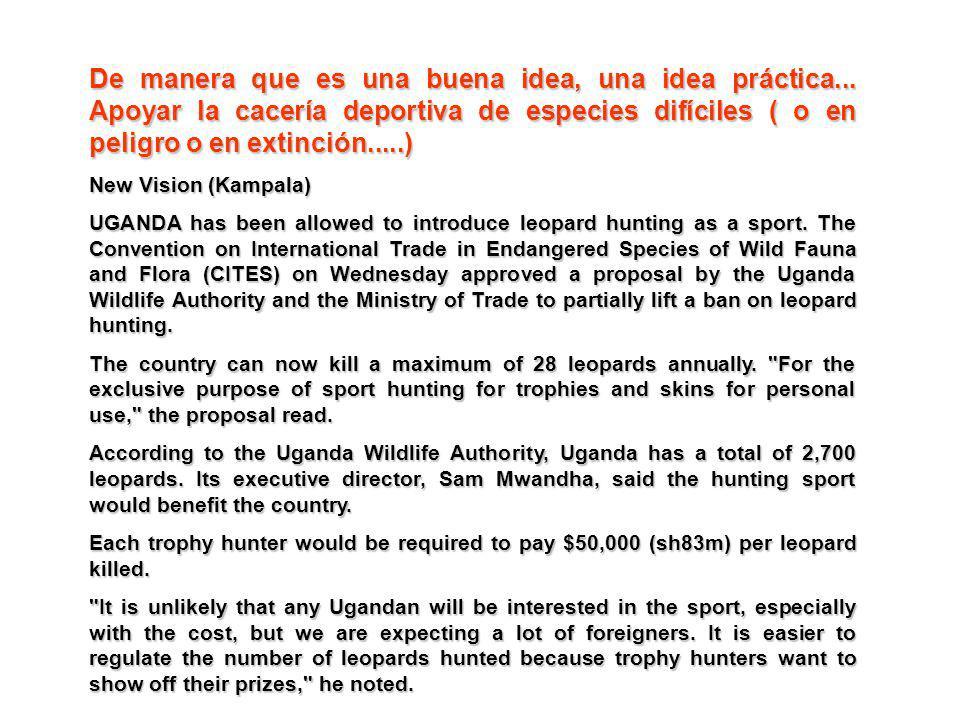 De manera que es una buena idea, una idea práctica... Apoyar la cacería deportiva de especies difíciles ( o en peligro o en extinción.....) New Vision