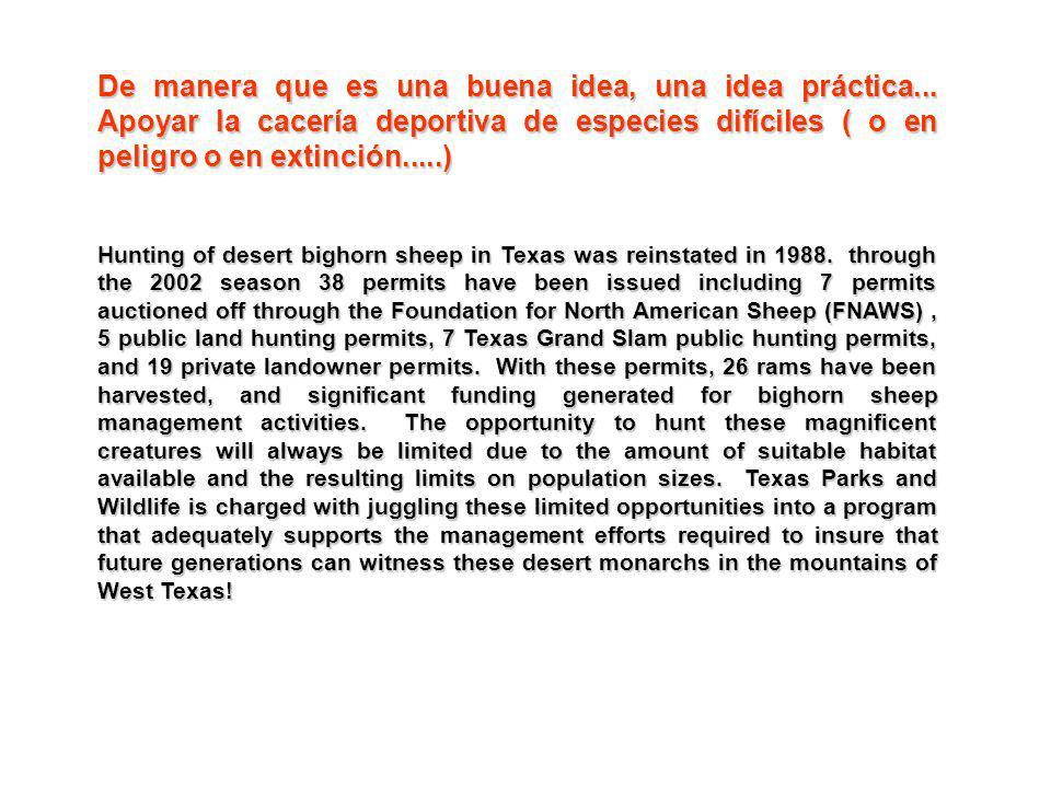De manera que es una buena idea, una idea práctica... Apoyar la cacería deportiva de especies difíciles ( o en peligro o en extinción.....) Hunting of